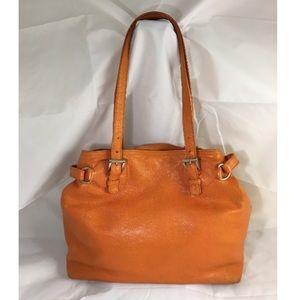 PRADA Orange Leather Shoulder Handbag Tote Purse